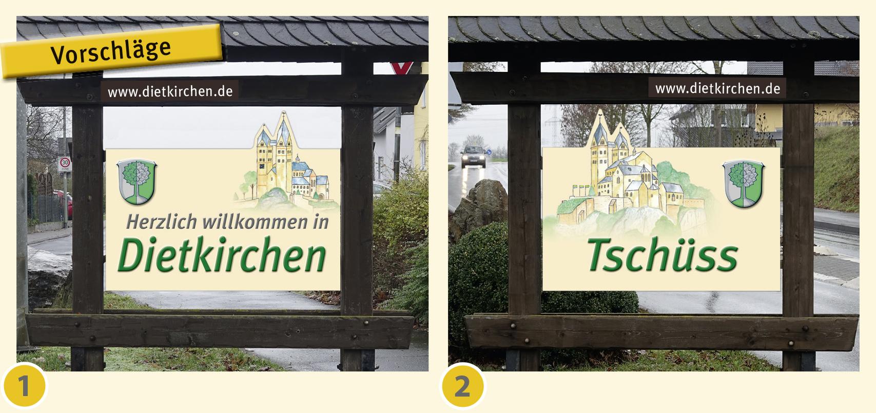 Neue Ortseingangsschilder für Dietkirchen